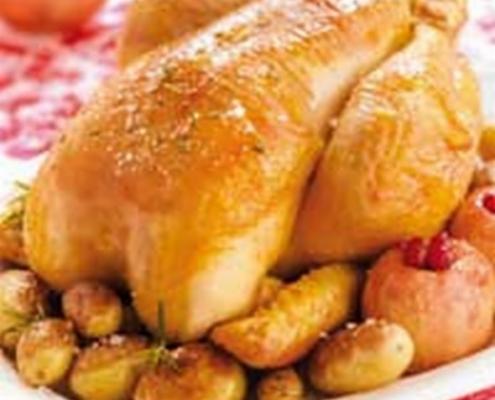 Chapon-roti-aux-deux-pommes